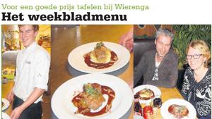 Weekbladmenu: voor een goede prijs tafelen bij Wierenga